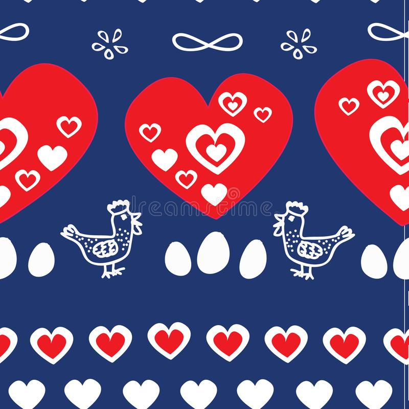 Vector seamless pattern, folk vintage pattern with hen, rooster, eggs and hearts. Perfect for Easter, fabric, greeting stock illustration