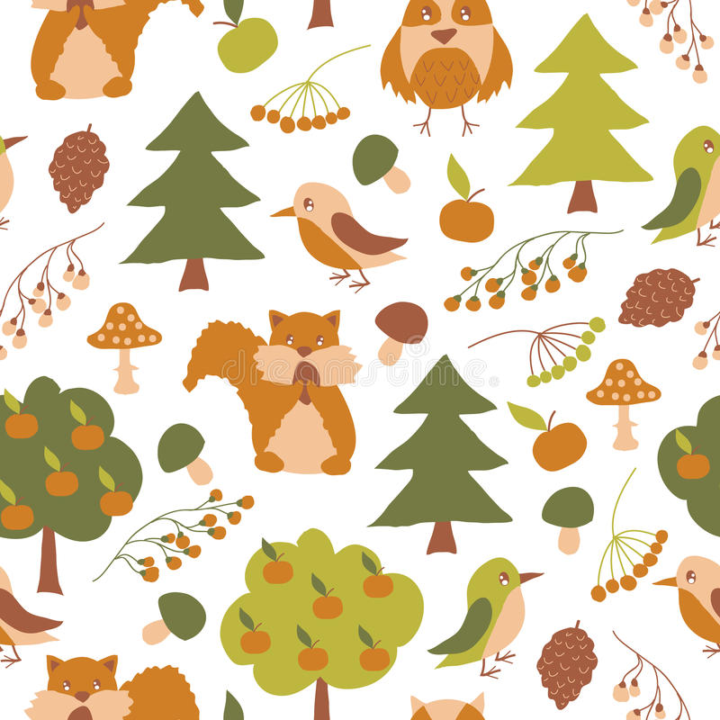 Vector seamless pattern with forest flora and fauna. Vector seamless pattern with cute forest flora and fauna. Isolated on white background. Autumn design with royalty free illustration