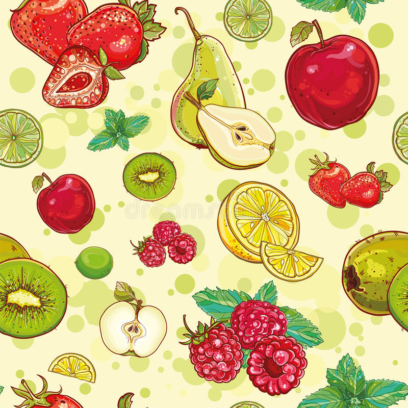 Vector seamless pattern with fresh fruits and berries. Vector bright seamless pattern with fruits and berries. Apple, kiwi, strawberry, raspberry, pear, lemon royalty free illustration