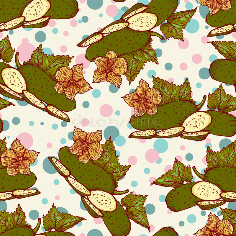 Vector seamless pattern with fresh green cucumbers royalty free illustration
