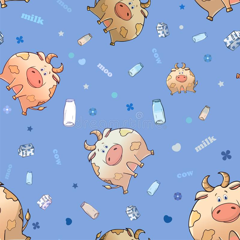 Vector seamless pattern with funny cartoon animal. Thick amusing cow with a box and bottle of milk. Texture on light blue vector illustration