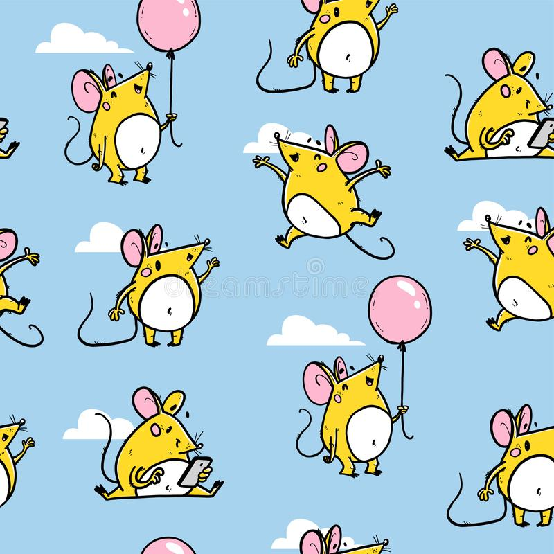 Vector seamless pattern with funny happy hand drawn mice characters isolated on blue background. Comic style. royalty free illustration