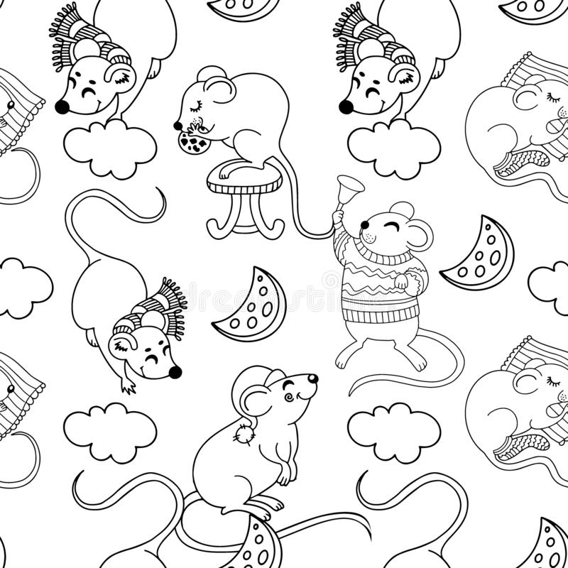 Vector seamless pattern with funny happy hand drawn mice characters isolated on white background royalty free illustration