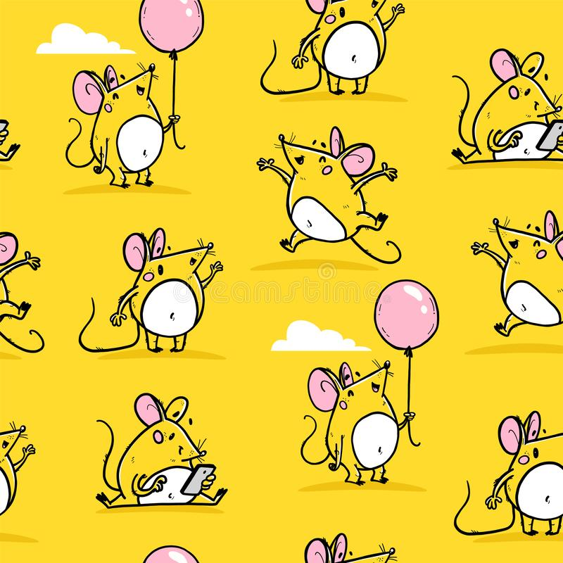 Vector seamless pattern with funny happy hand drawn mice characters isolated on yellow background. stock illustration