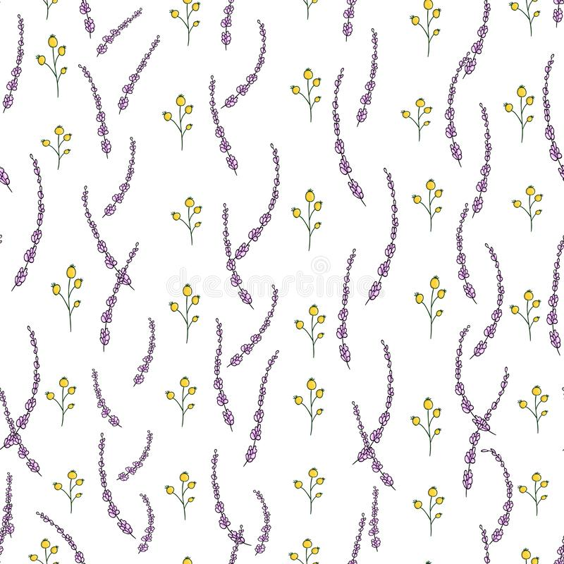 Vector seamless pattern of garden flowers and herbs. Hand drawn cartoon style repeat background. Cute summer or spring endless stock illustration