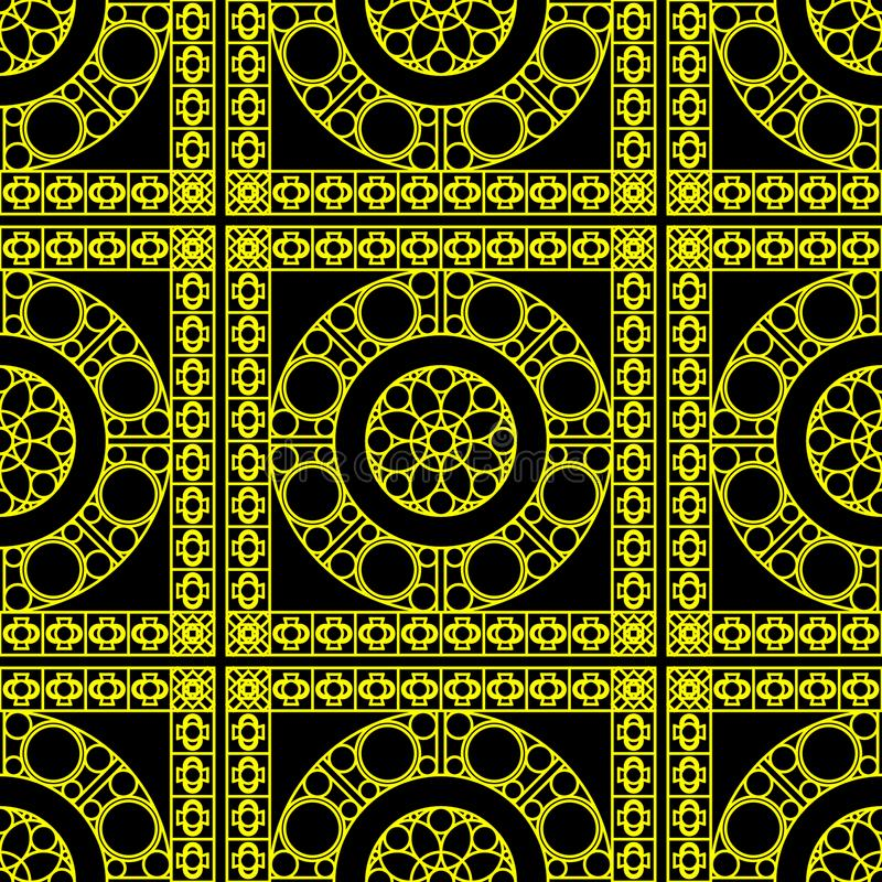 Vector seamless pattern with geometric ornament for bathroom, tiles, wallpaper, wrapping, etc. Bright yellow texture. royalty free illustration