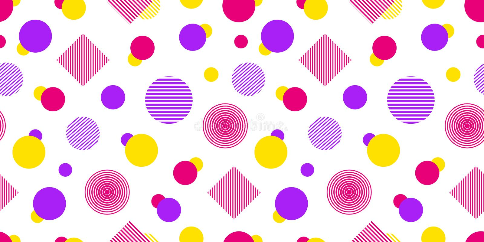 Vector seamless pattern with geometric shapes. Modern repeated texture. Abstract background in bright colors. Colored vector illustration