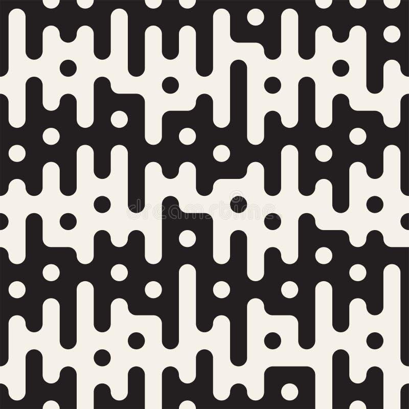 Vector seamless pattern with geometric spots. Monochrome random line streaks. Contrast repeating background design. Vector seamless pattern with geometric spots royalty free illustration