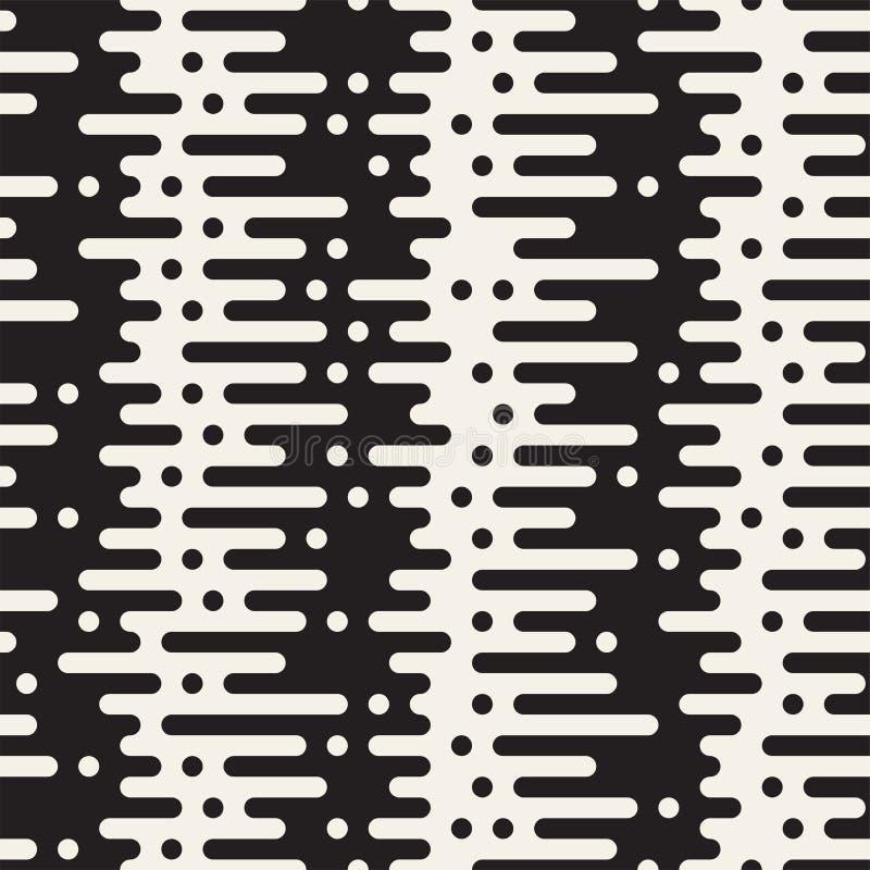 Vector seamless pattern with geometric spots. Monochrome random line streaks. Contrast repeating background design. Vector seamless pattern with geometric spots stock illustration