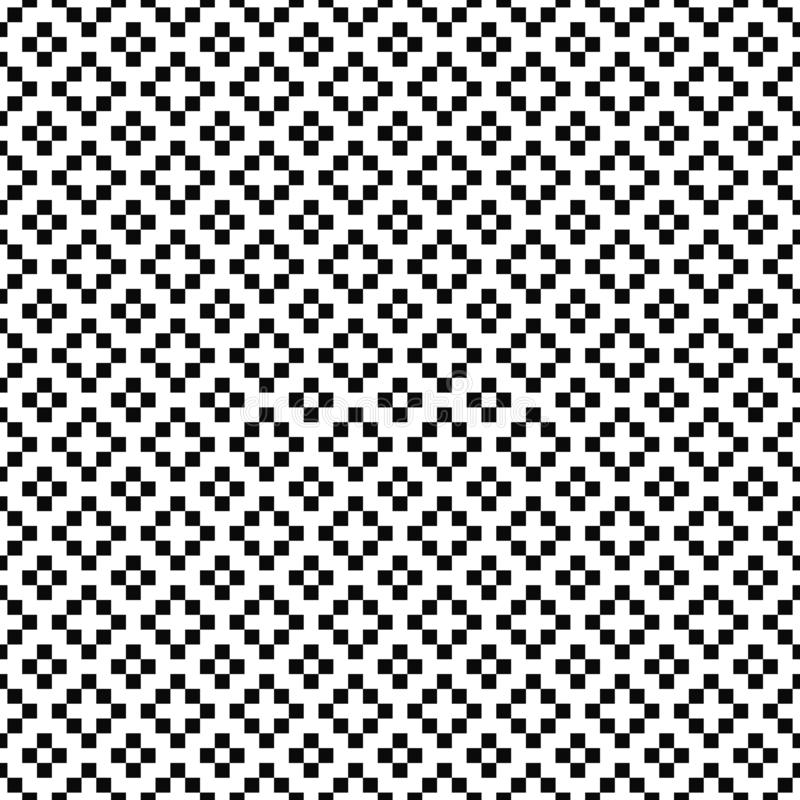 Vector seamless pattern. Geometric texture. Black-and-white background with crosses, plus signs. Monochrome square design. vector illustration
