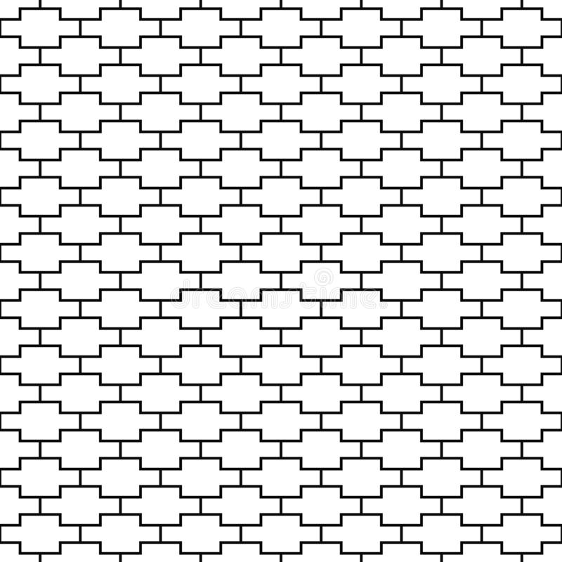 Vector seamless pattern. Geometric texture. Black-and-white background. Monochrome line square design. royalty free illustration