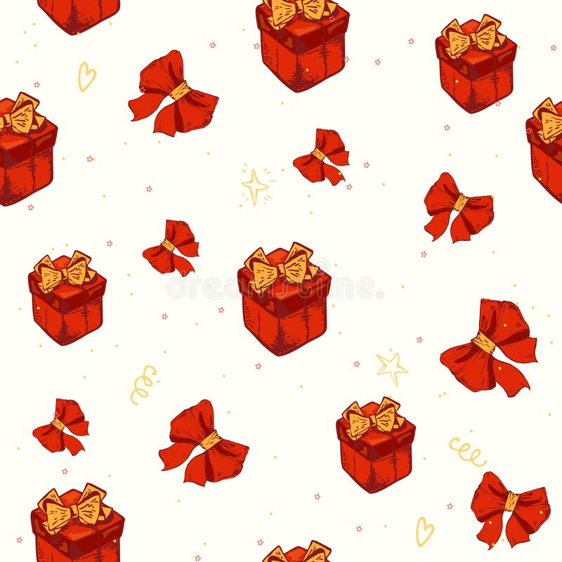 Vector seamless pattern with Gift boxes. Abstract colorful background. Design concept for holidays birthday greeting. Cards, festival decoration, gift card royalty free illustration
