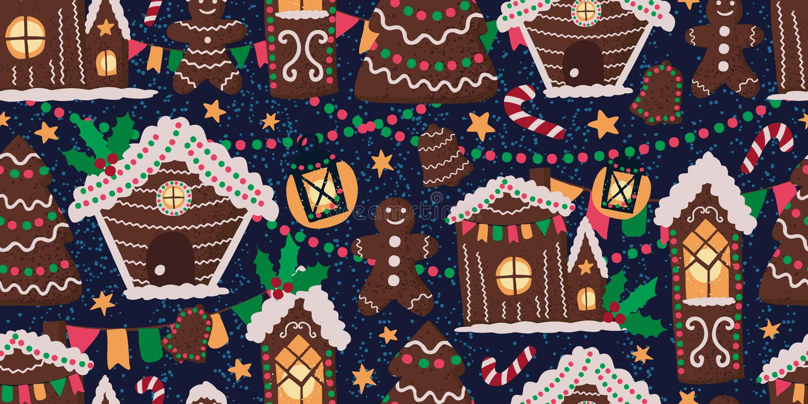 Vector seamless pattern with gingerbread houses royalty free stock image
