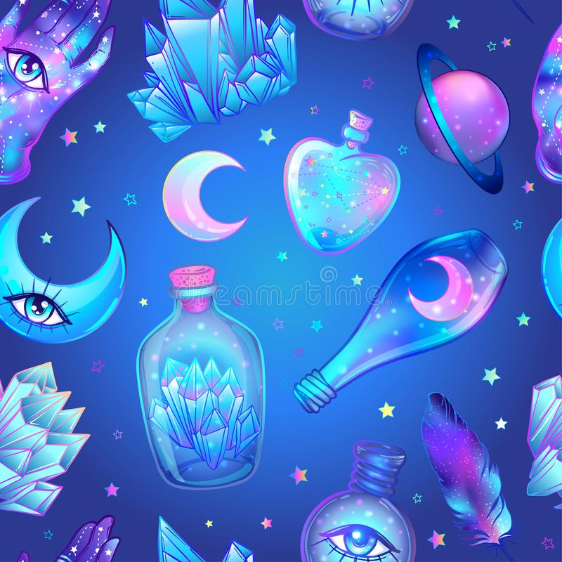 Vector seamless pattern with glass flasks. Magic potions: tubes vector illustration