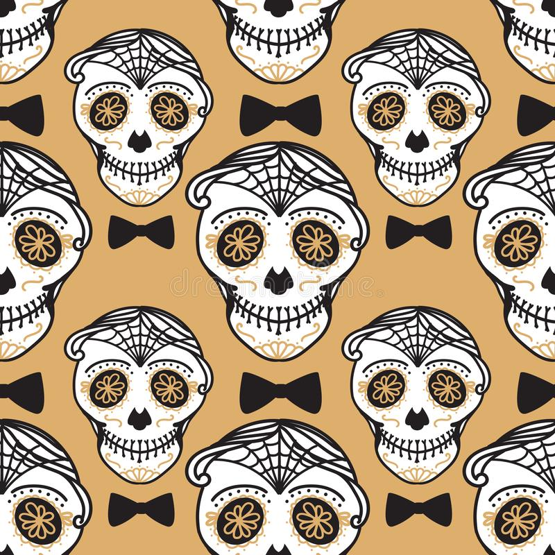 Vector Seamless pattern Gold Calavera skull with bow tie. Hand drawn Virile male design texture. On black background stock illustration