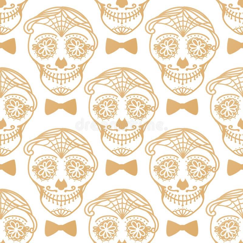 Vector Seamless pattern Gold Calavera skull. Hand drawn Virile male design texture. Vector Seamless pattern Gold Calavera skull with bow tie. Hand drawn Virile vector illustration