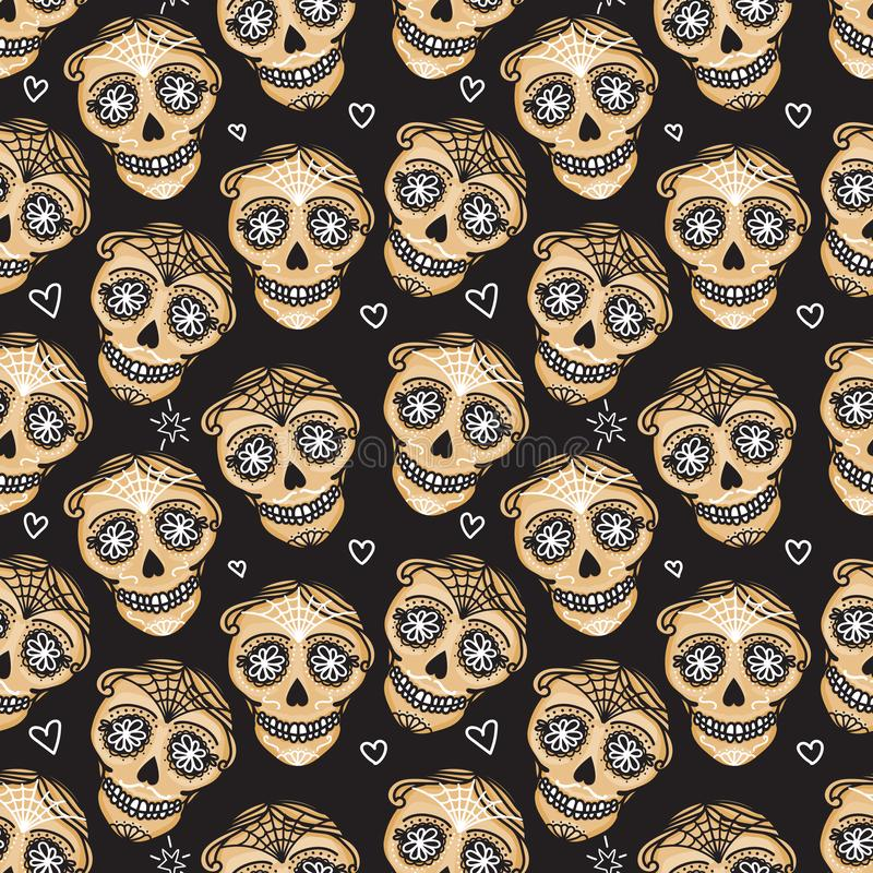 Vector Seamless pattern Gold Calavera skull. Hand drawn Virile male design texture stock illustration