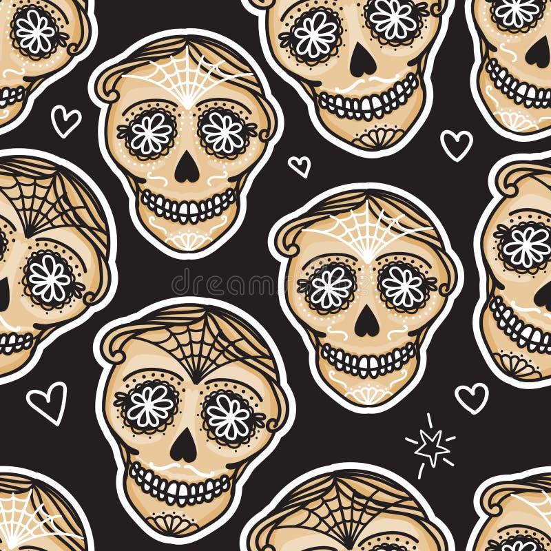 Vector Seamless pattern Gold Calavera skull. Hand drawn Virile male design texture. On black background vector illustration