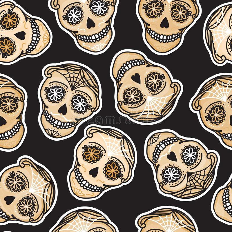 Vector Seamless pattern Gold Calavera skull. Hand drawn Virile male design texture. On black background. Mexican day of the dead concept vector illustration