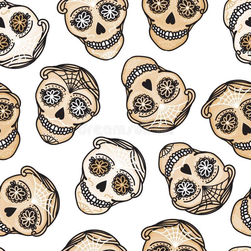 Vector Seamless pattern Gold Calavera skull. Hand drawn Virile male design texture. On white background stock illustration