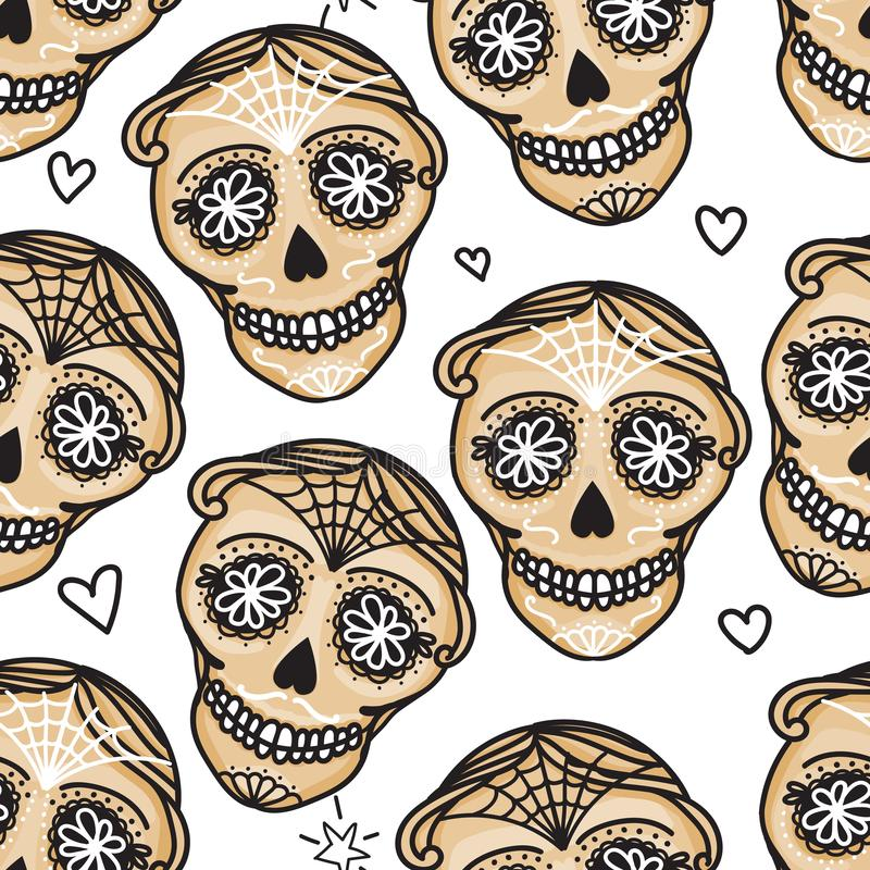 Vector Seamless pattern Gold color Calavera skull. Hand drawn Virile male design texture. On white background stock illustration