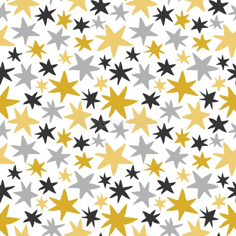 Vector seamless pattern with gold and gray stars on white background for graphic design stock illustration