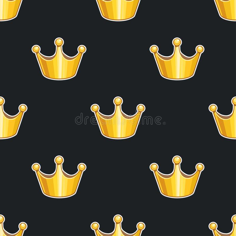 Seamless pattern with golden crowns stock illustration