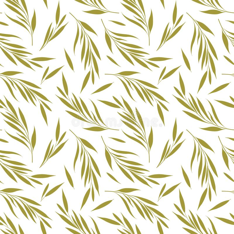 Vector seamless pattern with golden floral elements. Branches with leaves. stock illustration