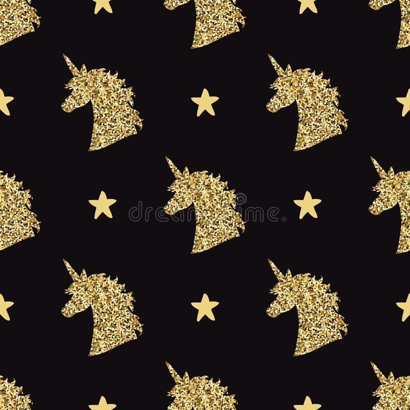 Vector seamless pattern with golden magical unicorn head silhouettes and stars vector illustration