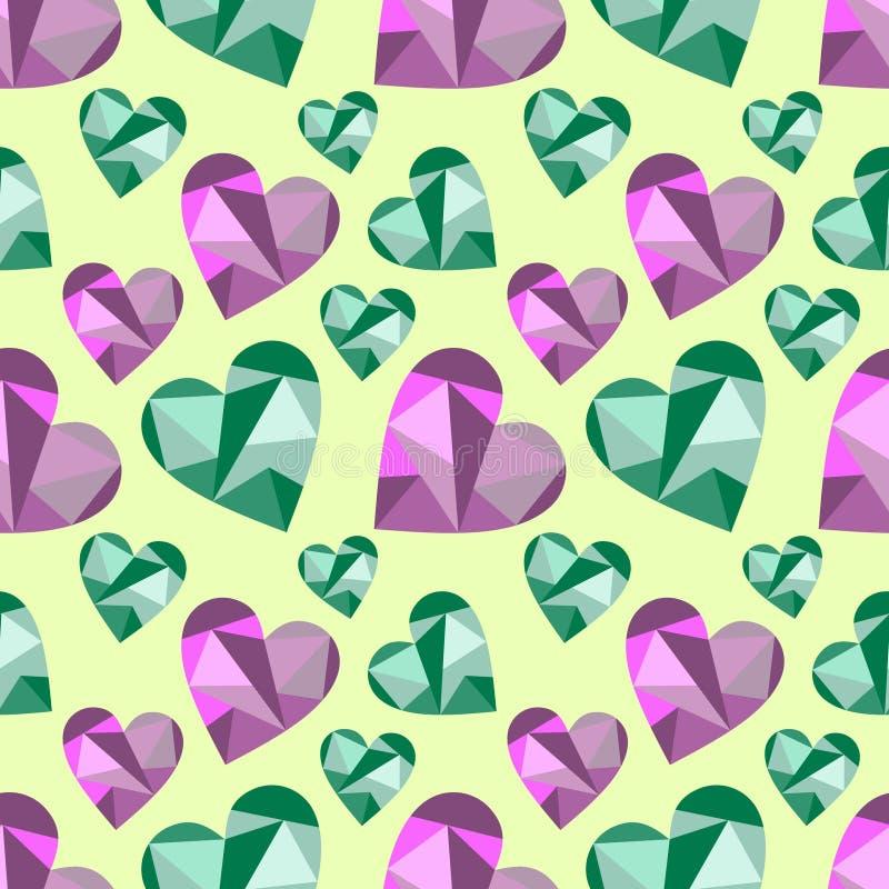 Vector seamless pattern, graphic illustration. Vector seamless pattern with abstract hearts, background. Polygonal design. Geometric triangular origami style vector illustration