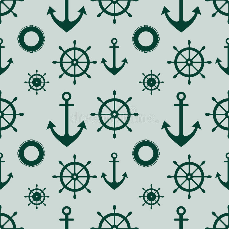 Vector seamless pattern, graphic illustration. Vector seamless pattern with anchor, steering wheel. Symmetrical background, nautical theme. Graphic illustration stock illustration