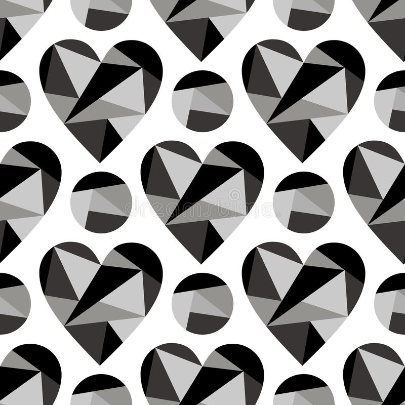 Vector seamless pattern, graphic illustration. Vector seamless pattern with black abstract hearts on the white background. Polygonal design. Geometric triangular royalty free illustration