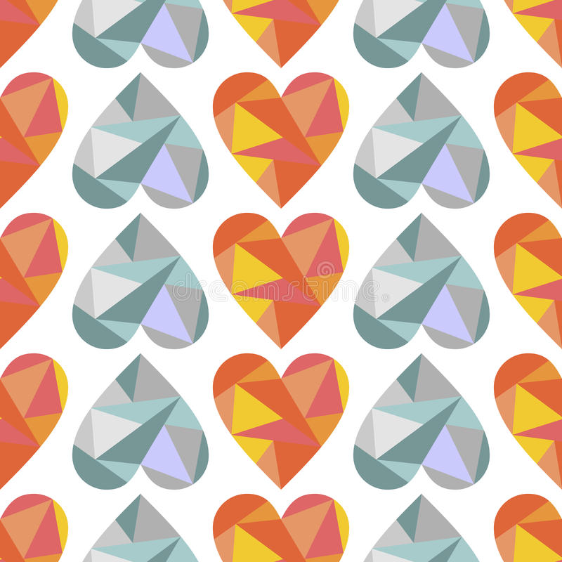 Vector seamless pattern, graphic illustration. Vector seamless pattern with blue, red abstract hearts on the white background. Polygonal design. Geometric royalty free illustration