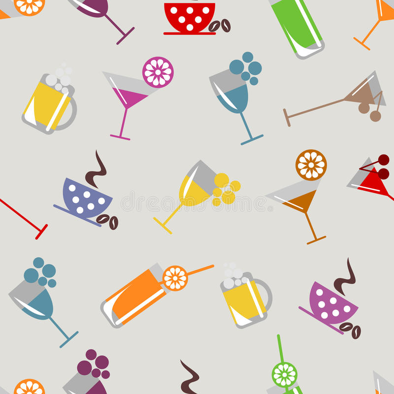 Vector seamless pattern, graphic illustration. Seamless vector pattern with cocktail, glass, wine glass, beer glass, fruits on the grey background. Series of vector illustration