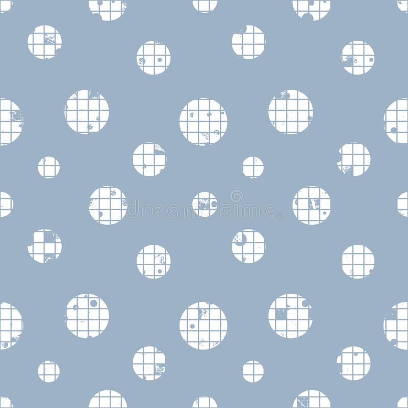 Vector seamless pattern, graphic illustration. Seamless vector dotted pattern. Blue geometric background with circles. Grunge texture with attrition, cracks and vector illustration