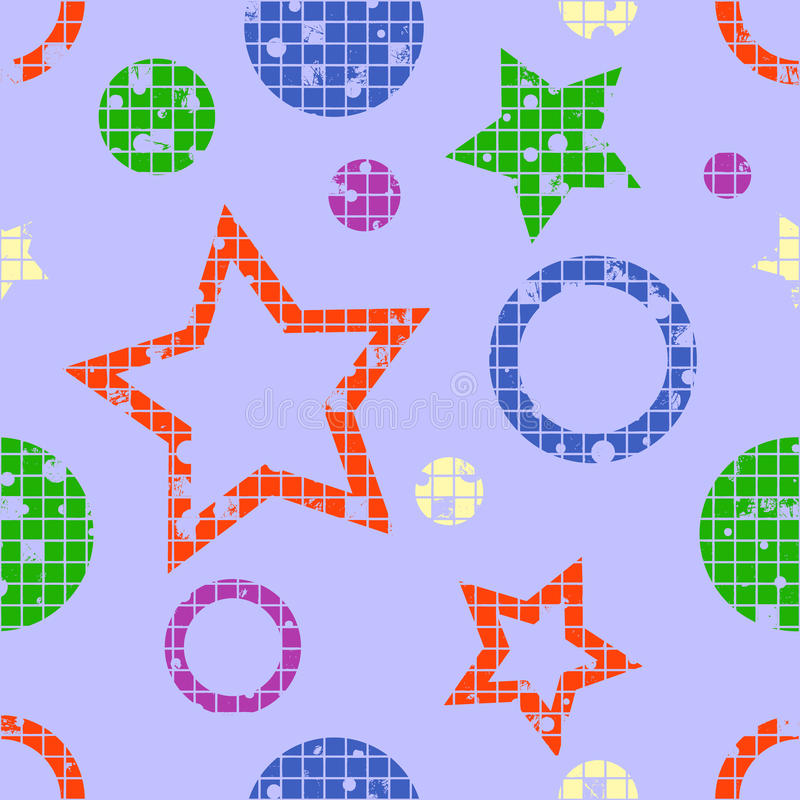 Vector seamless pattern, graphic illustration. Seamless vector pattern. geometric background with geometric figures, forms, stars, circles. Grunge texture with stock illustration