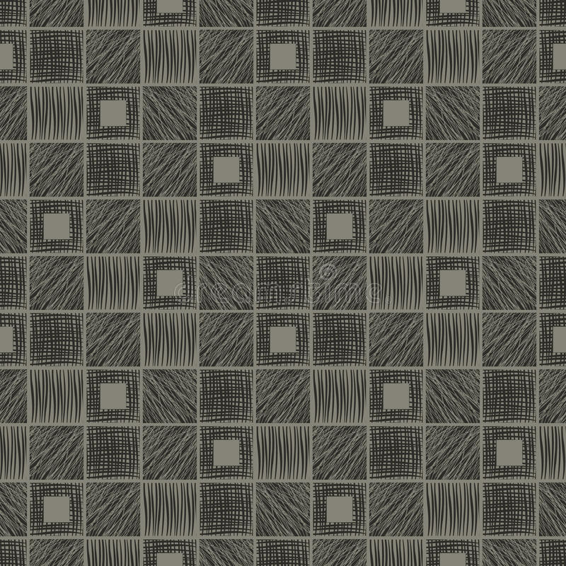 Vector seamless pattern, graphic illustration. Seamless vector geometrical pattern with squares. Gray background with hand drawn textured geometric figures royalty free illustration