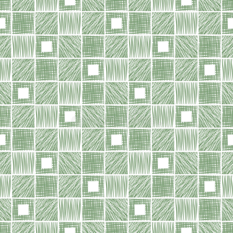 Vector seamless pattern, graphic illustration. Seamless vector geometrical pattern with squares. Green background with hand drawn textured geometric figures vector illustration