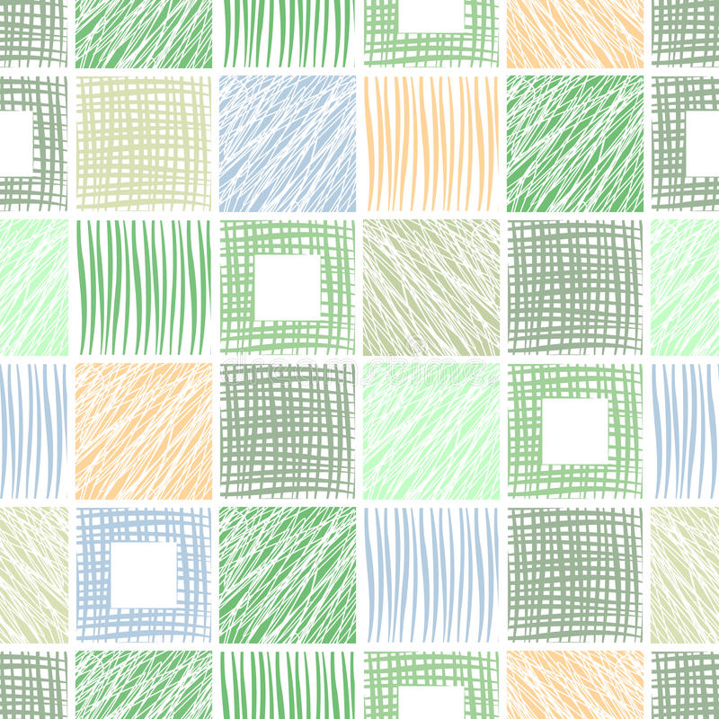 Vector seamless pattern, graphic illustration. Seamless vector geometrical pattern with squares. Green pastel endless background with hand drawn textured vector illustration