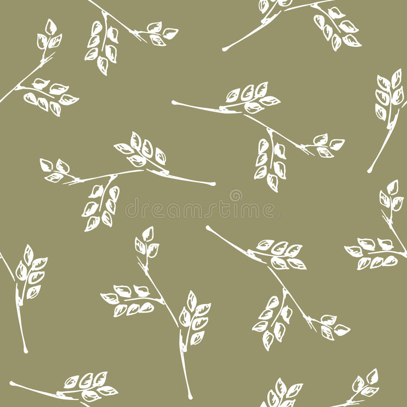 Vector seamless pattern, graphic illustration. Seamless vector pattern, hand drawn background with branch and leaves. Hand sketch drawing. Doodle style. Series vector illustration