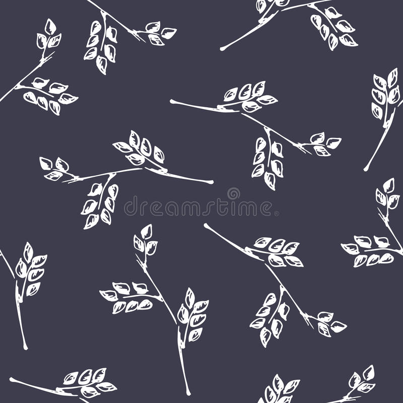 Vector seamless pattern, graphic illustration. Seamless vector pattern, hand drawn background with branch and leaves. Hand sketch drawing. Doodle style. Series stock illustration