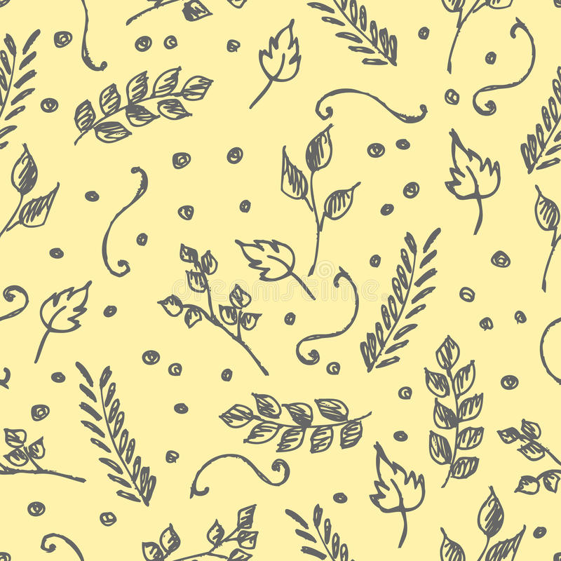 Vector seamless pattern, graphic illustration. Seamless vector pattern, hand drawn background with flowers, branch, leaves, dots. Hand sketch drawing. Doodle royalty free illustration