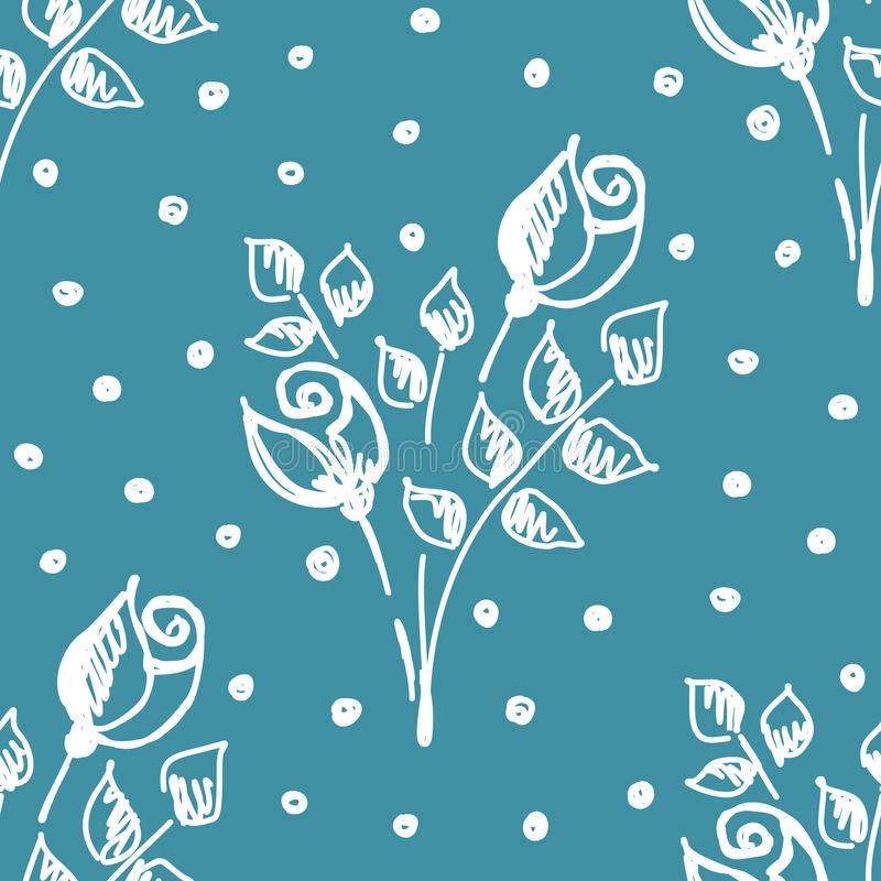 Vector seamless pattern, graphic illustration. Seamless vector hand drawn seamless floral pattern. Blue background with flowers, leaves, dots. Decorative cute stock illustration
