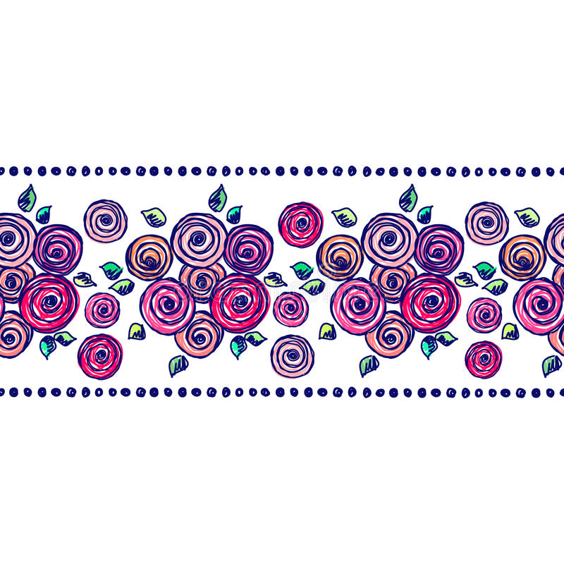 Vector seamless pattern, graphic illustration. Seamless vector hand drawn floral pattern, endless border Colorful frame with flowers, leaves. Decorative cute stock illustration