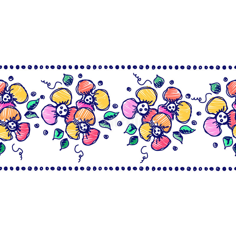 Vector seamless pattern, graphic illustration. Seamless vector hand drawn floral pattern, endless border Colorful frame with flowers, leaves. Decorative cute vector illustration