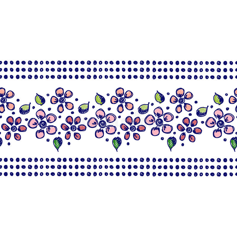 Vector seamless pattern, graphic illustration. Seamless vector hand drawn floral pattern, endless border Colorful frame with flowers, leaves. Decorative cute royalty free illustration