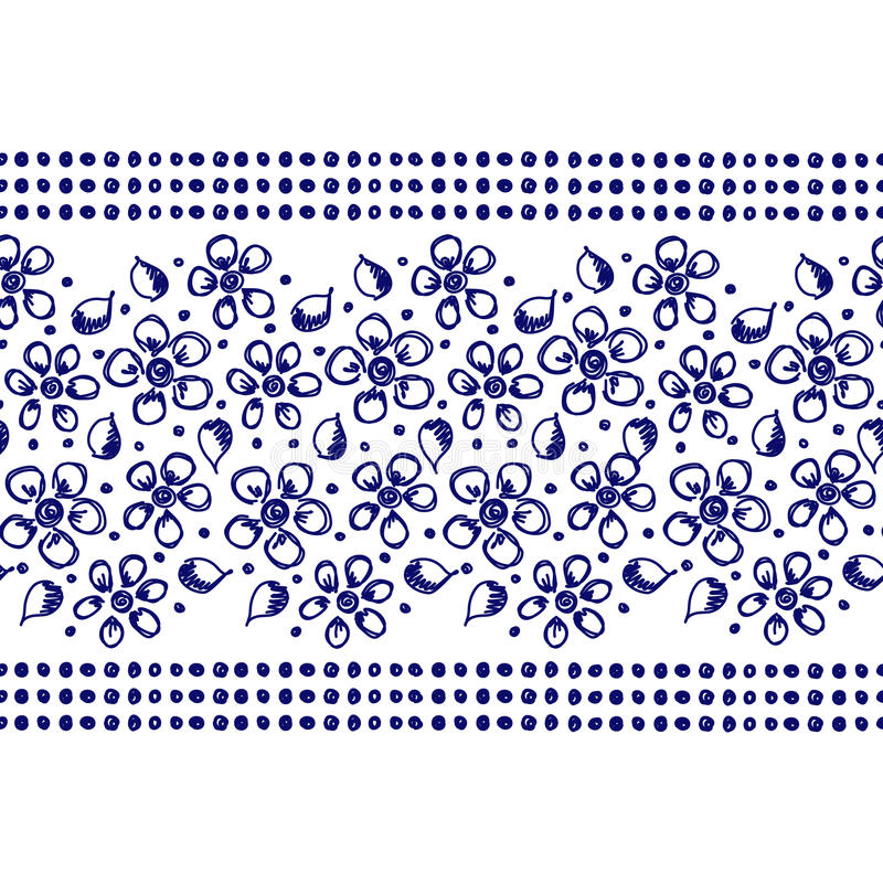 Vector seamless pattern, graphic illustration. Seamless vector hand drawn floral pattern, endless border frame with flowers, leaves. Decorative cute graphic line vector illustration