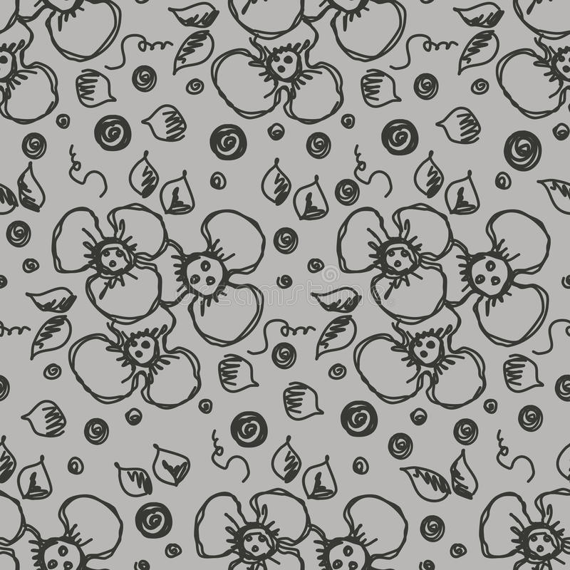 Vector seamless pattern, graphic illustration. Seamless vector hand drawn floral pattern. Grey background with flowers, leaves. Decorative cute graphic line royalty free illustration
