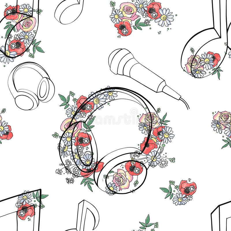 Vector seamless pattern, graphic illustration of headphones, music notes with flowers, leaves, branch Sketch drawing, doodle style vector illustration