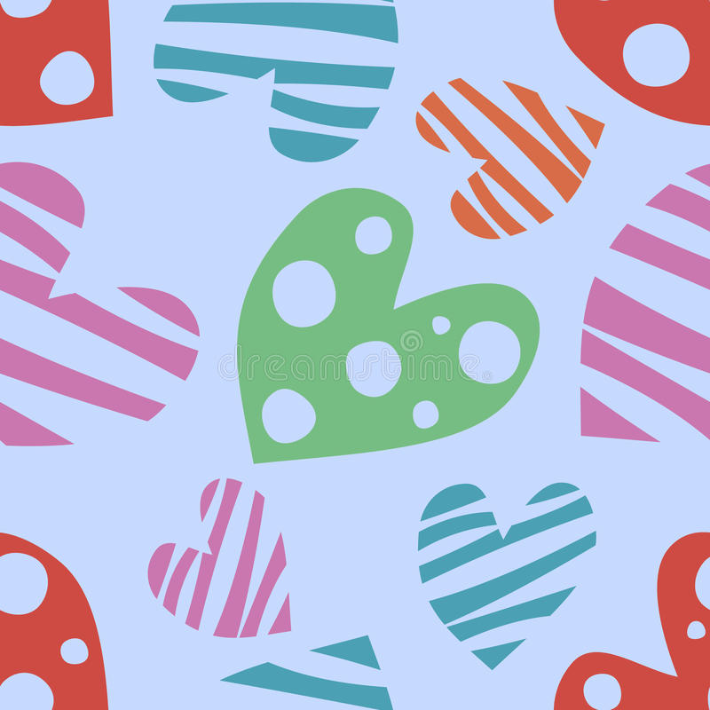 Vector seamless pattern, graphic illustration. Seamless vector pattern with hearts. Background with hand drawn symbols. Template for wrapping, decor, surface stock illustration
